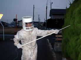 スズメバチ駆除作業中